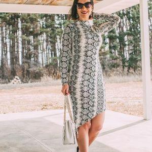 Dresses & Skirts - Snake Print Long Sleeve High Neck Split Bodycon